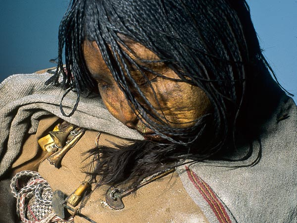 The thirteen year old Llullaillco Maiden mummy which was discovered on top of a 22,000ft mountain in Argentina. Photo © Johan Reinhard.